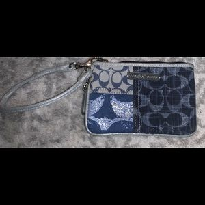 Almost new Coach Poppy Denim Wristlet Wallet